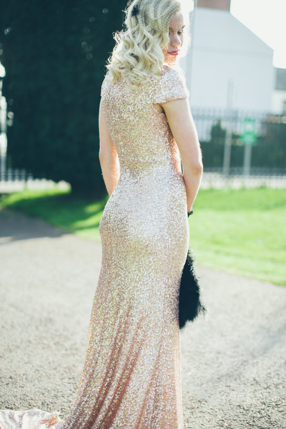 Gibson Bespoke Gold Sequin Etsy Dress