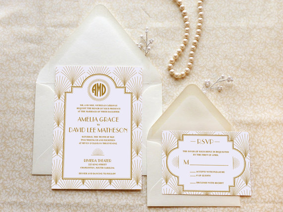art deco invitations - merrymint - etsy