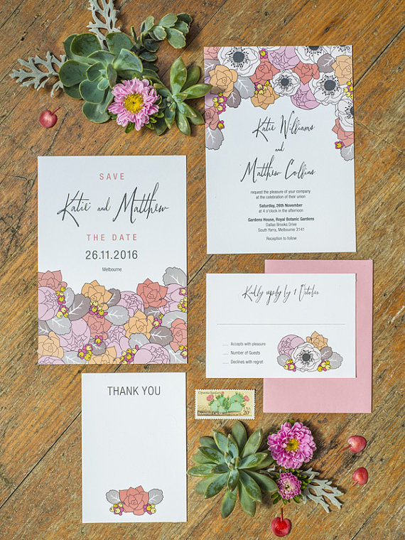 3 eggs design floral invites