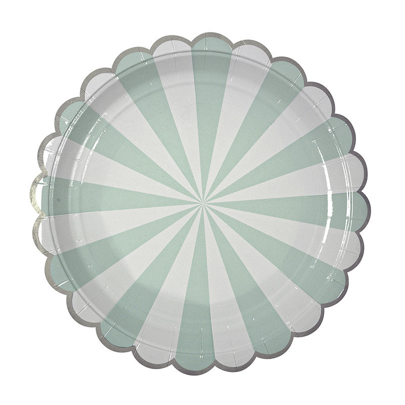 mint striped plate meri meri
