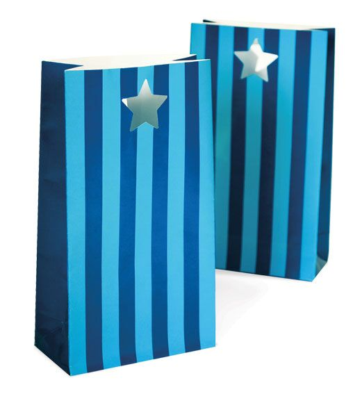 party bags PE sherbert blue striped