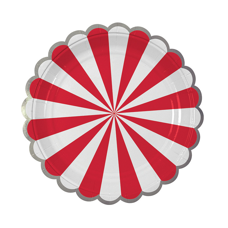 red and white stripe meri meri plates