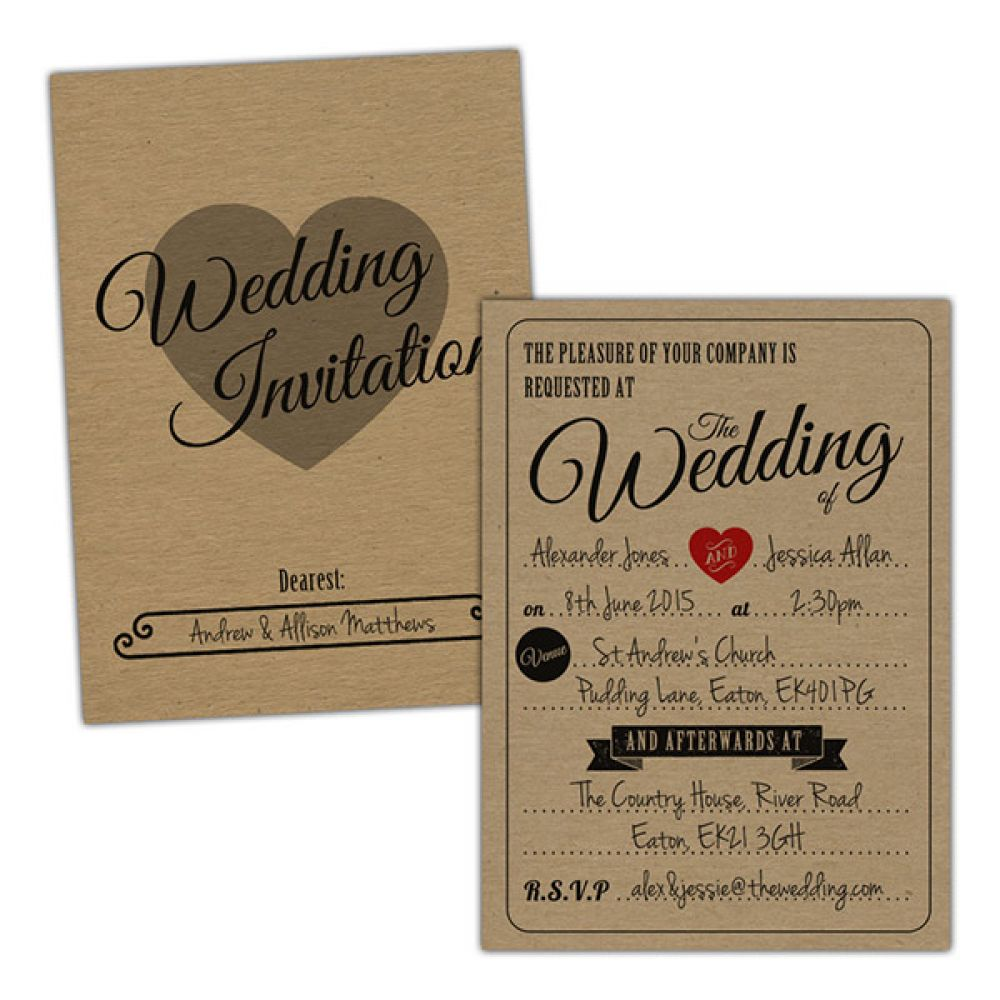 Vintage Rustic\' Wedding Invitations / Write In Your Own Details ...