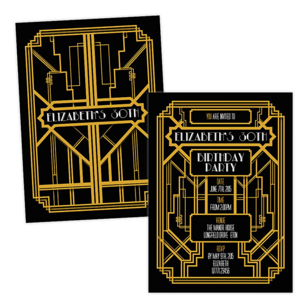 Art Deco 1920s Gold Invitations / Personalised / Pack Of 20