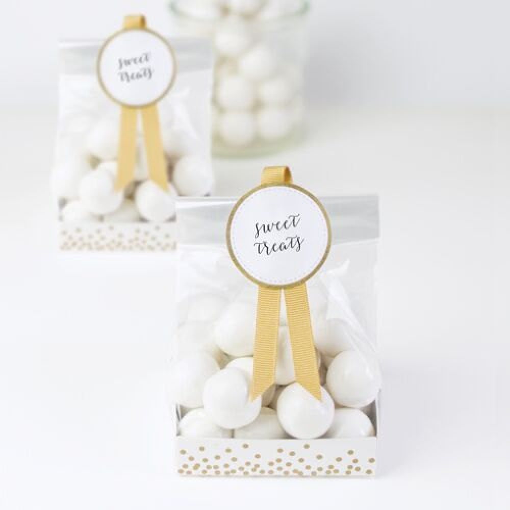 2a22b324723 Sweet Treats Favour Bags   White   Gold x 12 - The Event Experts