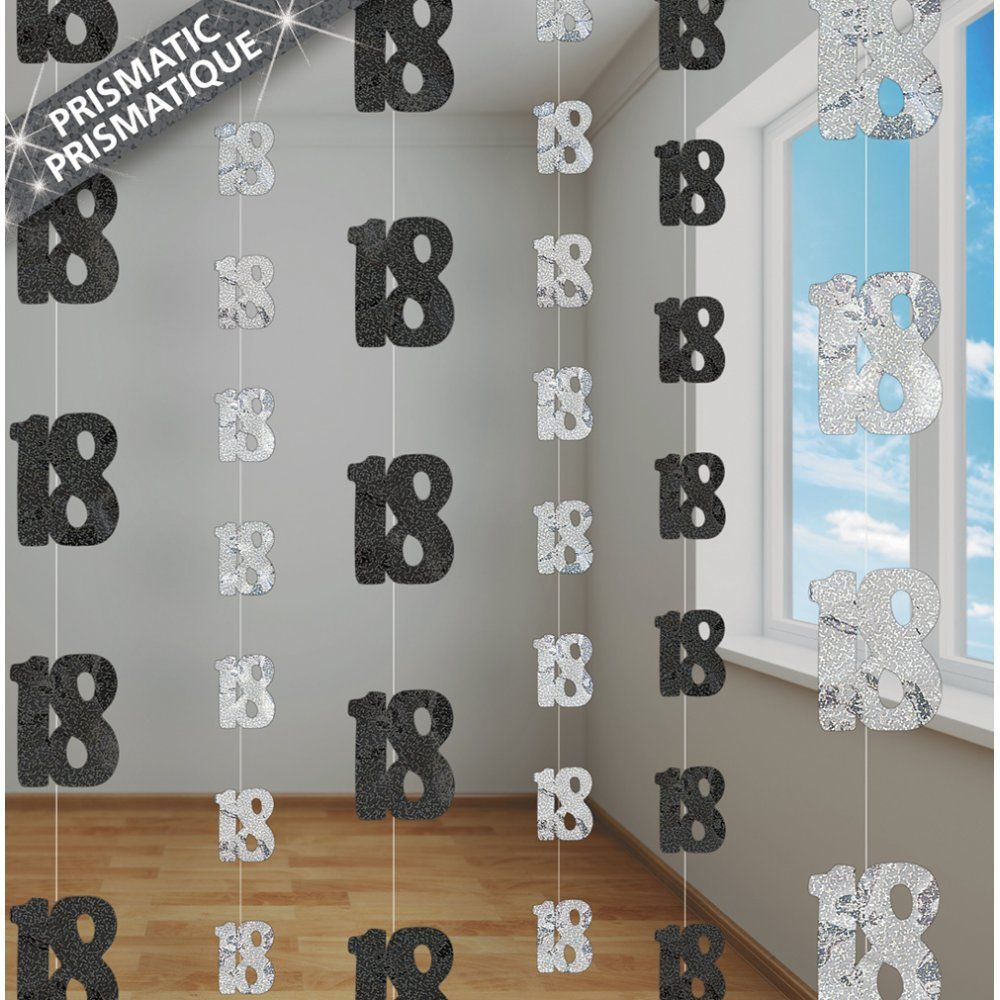 5ft Black Silver Glitz Hanging Decorations 18th Birthday