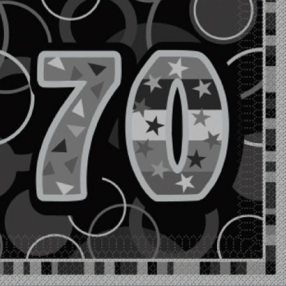 Age 70 luncheon napkins black silver pack of 16 the event 70th birthday napkins black and silver pack of 16 biocorpaavc