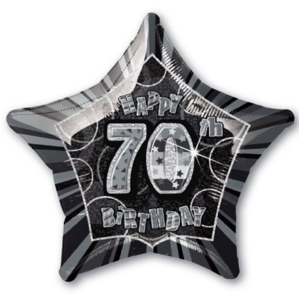 70th Birthday 20 Star Shaped Foil Balloon Black And Silver