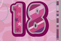 Product image for 18th Birthday Napkins / Pink / Pack Of 16