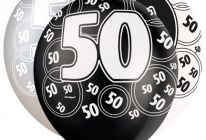Product image for 50th Birthday/Anniversary Pearlised Balloons / Black And Silver / Pack Of 6
