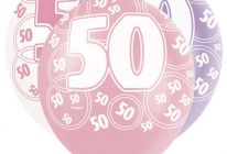 Product image for 50th Birthday/Anniversary Pearlised Balloons / Pink And Lilac / Pack Of 6