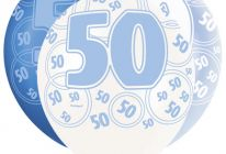 Product image for 50th Birthday/Anniversary Pearlised Balloons / Blue / Pack Of 6