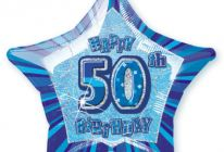 "Product image for 50th Birthday 20"" Star-Shaped Foil Balloon / Blue"