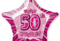 "Product image for 50th Birthday 20"" Star-Shaped Foil Balloon / Pink"
