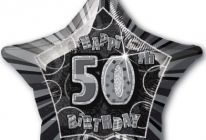 "Product image for 50th Birthday 20"" Star-Shaped Foil Balloon / Black And Silver"