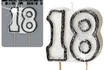 Product image for '18' Glitter Numeral Age Candle / Black & Silver