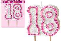 Product image for '18' Glitter Numeral Age Candle / Pink