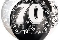 Product image for 70th Birthday/Anniversary Pearlised Balloons / Black & Silver / Pack Of 6