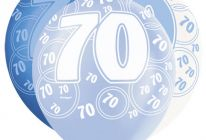 Product image for 70th Birthday/Anniversary Pearlised Balloons / Blue & White / Pack Of 6