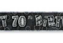 Product image for 12 Ft Foil Happy 70th Birthday Party Banner / Glitz Black & Silver