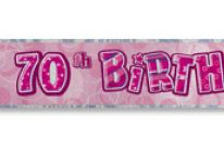 Product image for 12 Ft Foil Happy 70th Birthday Party Banner / Glitz Pink