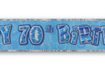 Product image for 12 Ft Foil Happy 70th Birthday Party Banner / Glitz Blue