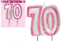 Product image for '70' Glitter Numeral Age Candle / Pink