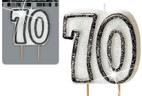Product image for '70' Glitter Numeral Age Candle / Black, Silver & White