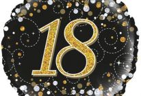 Product image for 18 Inch 18th Birthday Sparkling Fizz Black & Gold Holographic Foil Balloon