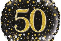 Product image for 18 Inch 50th Birthday Sparkling Fizz Black & Gold Holographic Foil Balloon