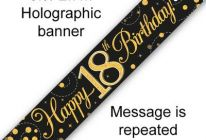 Product image for 9ft Banner Sparkling Fizz Black & Gold Holographic / 18th Birthday