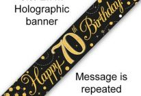 Product image for 9ft Banner Sparkling Fizz Black & Gold Holographic / 70th Birthday