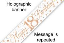 Product image for 9ft Banner Sparkling Fizz White & Rose Gold Holographic / 18th Birthday
