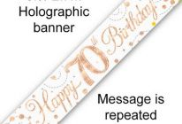 Product image for 9ft Banner Sparkling Fizz White & Rose Gold Holographic / 70th Birthday