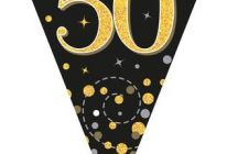 Product image for Party Bunting Sparkling Fizz Black & Gold Holographic 3.9m / 50th Birthday