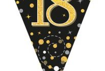 Product image for Party Bunting Sparkling Fizz Black & Gold Holographic 3.9m / 18th Birthday