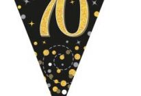 Product image for Party Bunting Sparkling Fizz Black & Gold Holographic 3.9m / 70th Birthday