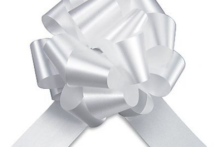 White Easy-tie Pull-Bows / Ribbon Bows For Weddings And Parties / Pack Of 20