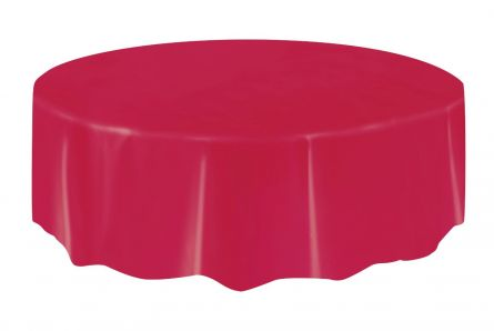 Round Plastic Tablecloth 84in / Red